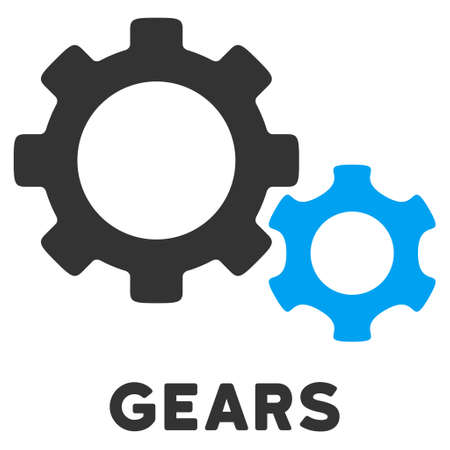 caption: Gears vector icon with caption. Style is a flat symbol with rounded angles, light blue and gray colors.