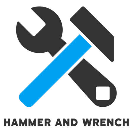 caption: Hammer And Wrench vector icon with caption. Style is a flat symbol with rounded angles, light blue and gray colors. Illustration