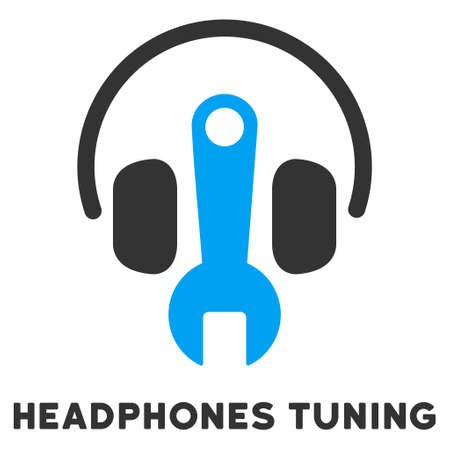 head phones: Headphones Tuning vector icon with caption. Style is a flat symbol with rounded angles, light blue and gray colors.