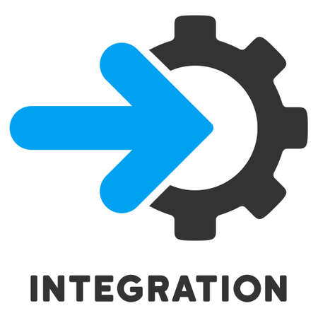 caption: Integration vector icon with caption. Style is a flat symbol with rounded angles, light blue and gray colors.