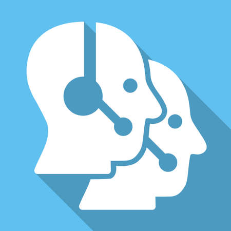 operators: Call Center Operators long shadow vector icon. Style is a white flat symbol on a light-blue square background. Illustration