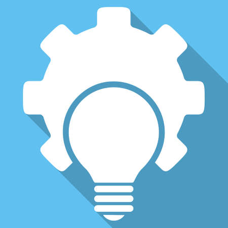 configuration: Bulb Configuration long shadow vector icon. Style is a white flat symbol on a light-blue square background.