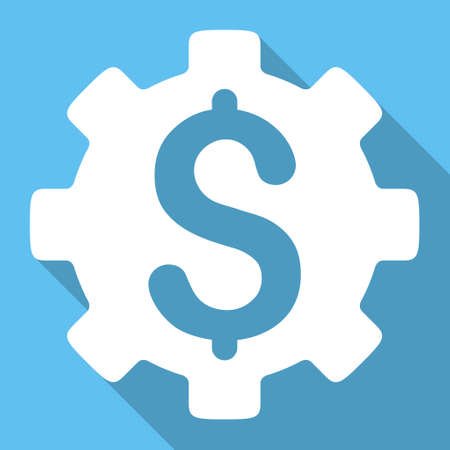 price development: Development Price long shadow vector icon. Style is a white flat symbol on a light-blue square background.