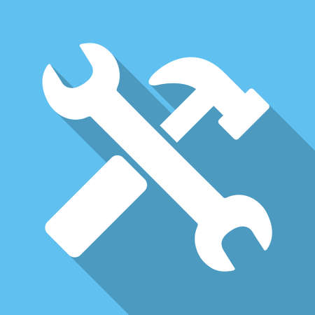 hardware configuration: Hammer And Wrench long shadow vector icon. Style is a white flat symbol on a light-blue square background. Illustration