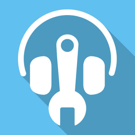 head phones: Headphones Tuning long shadow vector icon. Style is a white flat symbol on a light-blue square background. Illustration