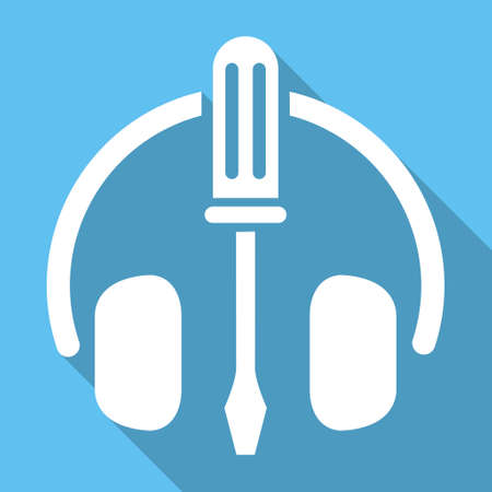 config: Headphones Tools long shadow vector icon. Style is a white flat symbol on a light-blue square background. Illustration