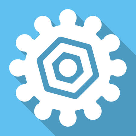 config: Gear long shadow glyph icon. Style is a white flat symbol on a light-blue square background.