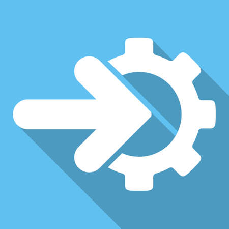 Integration long shadow glyph icon. Style is a white flat symbol on a light-blue square background.