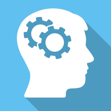 intellect: Intellect long shadow glyph icon. Style is a white flat symbol on a light-blue square background. Stock Photo