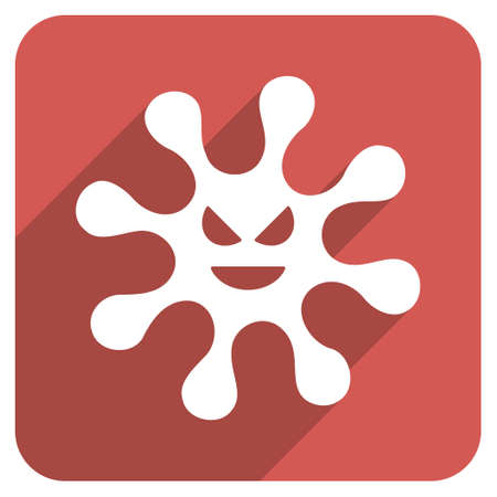 ameba: Evil Bacteria long shadow vector icon. Style is a light flat symbol on a red rounded square button.