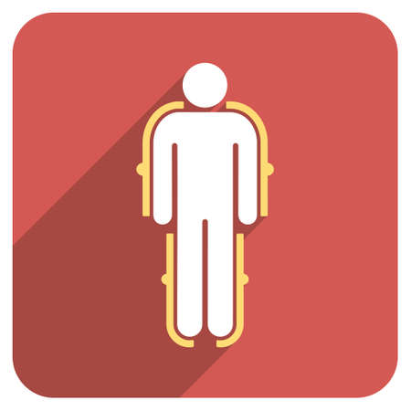 exoskeleton: Exoskeleton long shadow vector icon. Style is a light flat symbol on a red rounded square button.