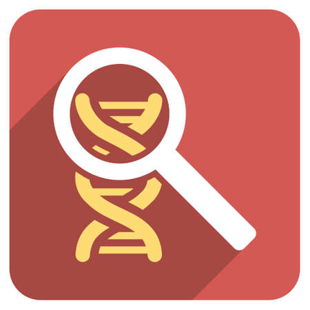 Explore DNA long shadow vector icon. Style is a light flat symbol on a red rounded square button.