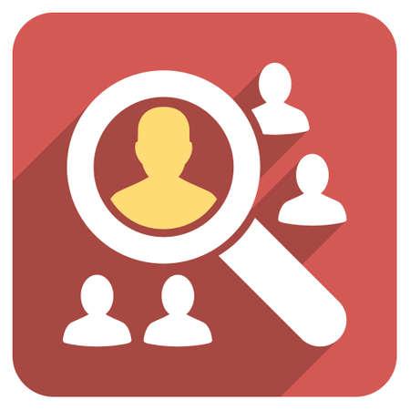 pacjent: Przeglądaj pacjenci długo cień ikona wektor. Styl jest lekki płaski symbol na czerwonym okrągłym placu przycisk.