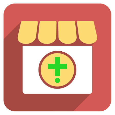 polyclinic: Drugstore long shadow vector icon. Style is a light flat symbol on a red rounded square button.