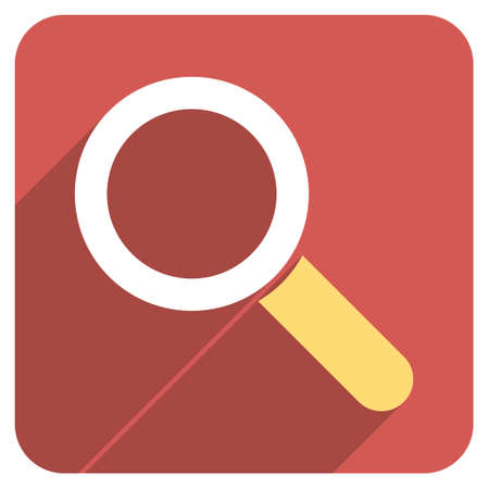 focus on shadow: Find long shadow vector icon. Style is a light flat symbol on a red rounded square button.
