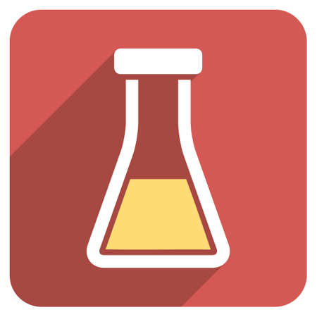 retort: Flask long shadow vector icon. Style is a light flat symbol on a red rounded square button.