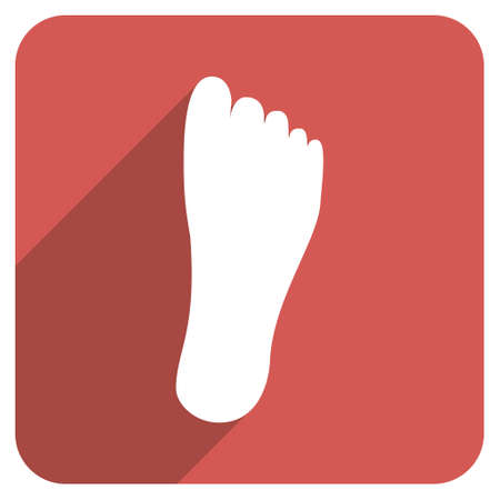 sole: Foot Sole long shadow vector icon. Style is a light flat symbol on a red rounded square button.