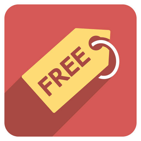 admittance: Free Tag long shadow vector icon. Style is a light flat symbol on a red rounded square button.