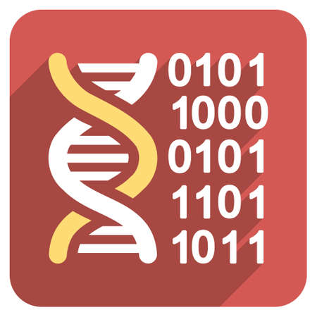 genome: Genome Code long shadow vector icon. Style is a light flat symbol on a red rounded square button. Illustration