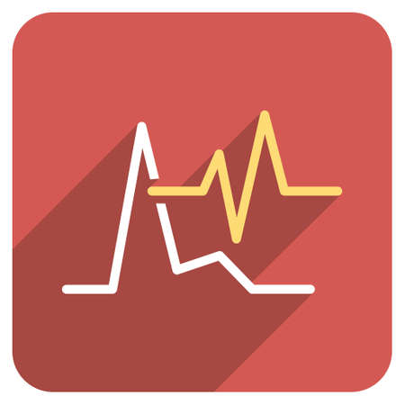 pulsating: ECG long shadow glyph icon. Style is a light flat symbol on a red rounded square button.