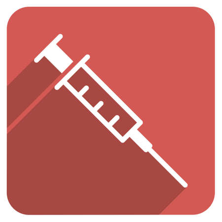 inoculation: Empty Syringe long shadow glyph icon. Style is a light flat symbol on a red rounded square button. Stock Photo