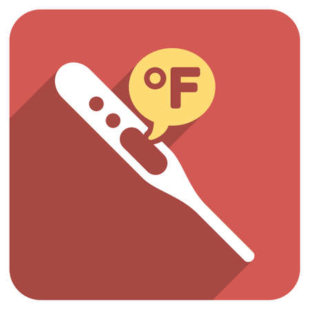 parameter: Fahrenheit Temperature long shadow glyph icon. Style is a light flat symbol on a red rounded square button.