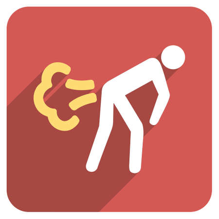 diarrhoea: Fart long shadow glyph icon. Style is a light flat symbol on a red rounded square button.