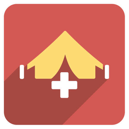 filed: Filed Hospital long shadow glyph icon. Style is a light flat symbol on a red rounded square button.