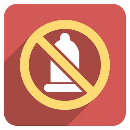 condones: Condón Prohibida icono glifo larga sombra. El estilo es un símbolo de luz plana en un botón cuadrado redondeado de color rojo.