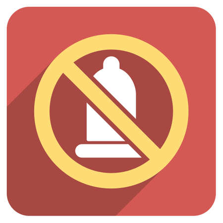 condom: Forbidden Condom long shadow glyph icon. Style is a light flat symbol on a red rounded square button.