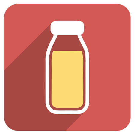 a solution tube: Full Bottle long shadow glyph icon. Style is a light flat symbol on a red rounded square button.
