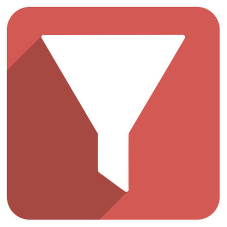 stricture: Filter long shadow glyph icon. Style is a light flat symbol on a red rounded square button.