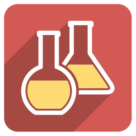 a solution tube: Glass Flasks long shadow glyph icon. Style is a light flat symbol on a red rounded square button.