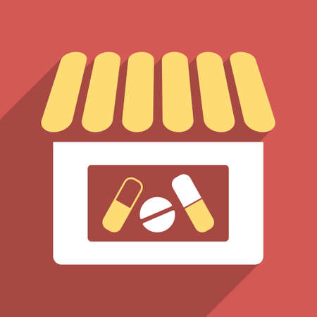 polyclinic: Drugstore long shadow vector icon. Style is a flat light symbol with rounded angles on a red square background. Illustration