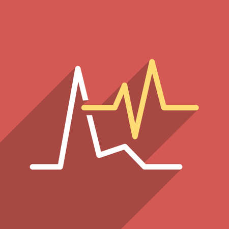 cardiograph: ECG long shadow vector icon. Style is a flat light symbol with rounded angles on a red square background. Illustration