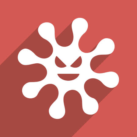 ameba: Evil Bacteria long shadow vector icon. Style is a flat light symbol with rounded angles on a red square background.