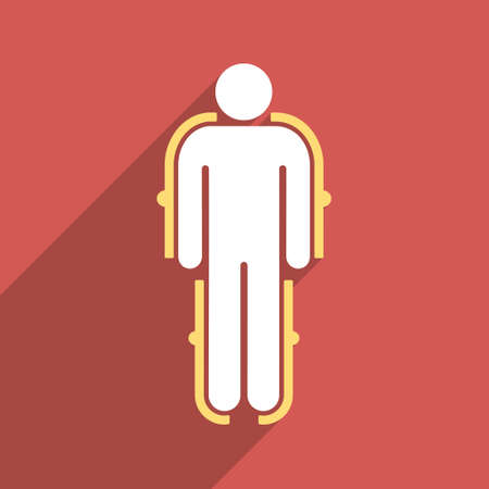 isolation: Exoskeleton long shadow vector icon. Style is a flat light symbol with rounded angles on a red square background.