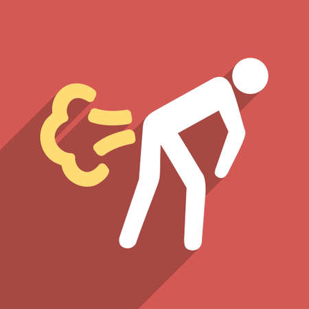 fart: Fart long shadow vector icon. Style is a flat light symbol with rounded angles on a red square background.