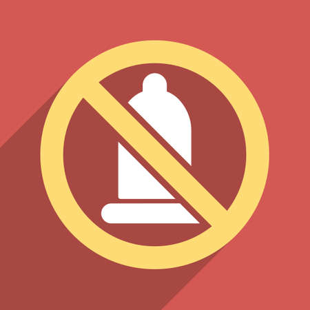 condoms: Forbidden Condom long shadow vector icon. Style is a flat light symbol with rounded angles on a red square background.