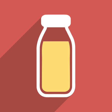 a solution tube: Full Bottle long shadow vector icon. Style is a flat light symbol with rounded angles on a red square background.