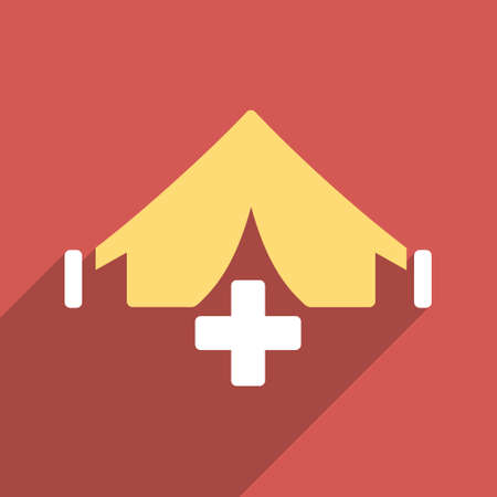 filed: Filed Hospital long shadow vector icon. Style is a flat light symbol with rounded angles on a red square background.