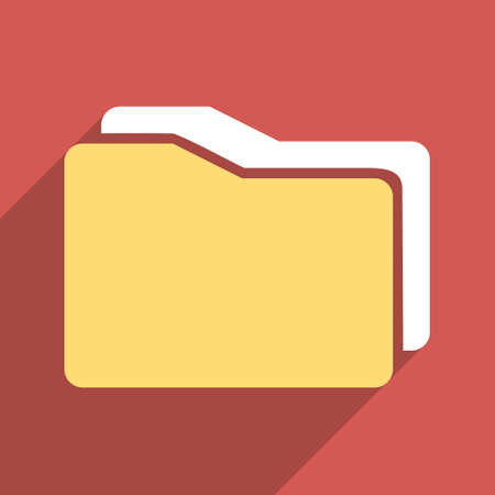 docs: Folders long shadow vector icon. Style is a flat light symbol with rounded angles on a red square background.