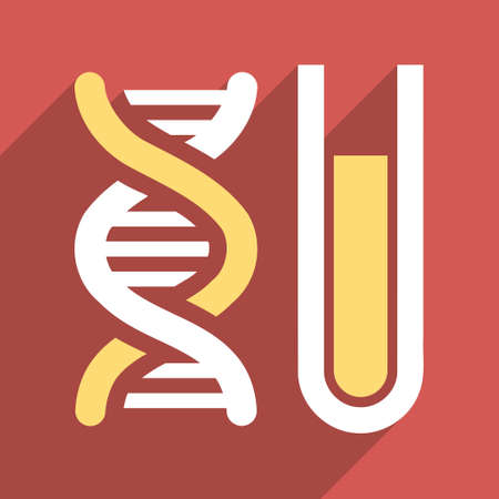 genetic: Genetic Analysis long shadow vector icon. Style is a flat light symbol with rounded angles on a red square background. Illustration