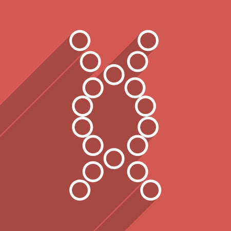 genom: Genome long shadow vector icon. Style is a flat light symbol with rounded angles on a red square background.