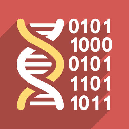 genome: Genome Code long shadow vector icon. Style is a flat light symbol with rounded angles on a red square background. Illustration