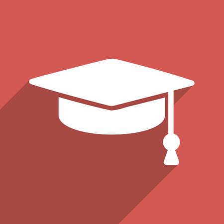 Abschluss-Kappe langen Schatten Vektor-Symbol. Style ist ein flaches Licht Symbol mit abgerundeten Ecken auf einem roten Quadrat Hintergrund.
