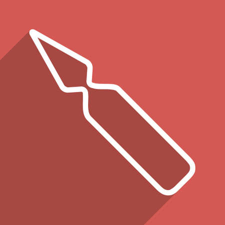 a substance vial: Empty Ampoule long shadow glyph icon. Style is a flat light symbol with rounded angles on a red square background.
