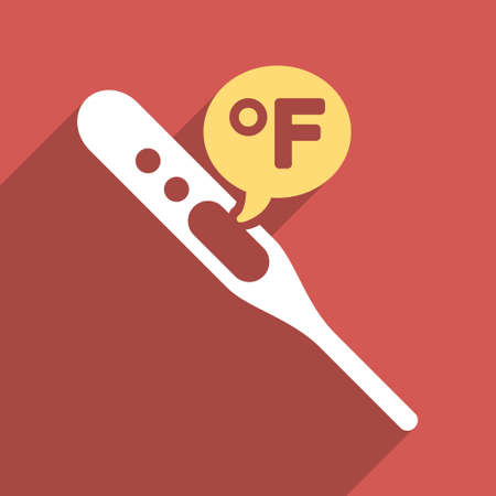 parameter: Fahrenheit Temperature long shadow glyph icon. Style is a flat light symbol with rounded angles on a red square background.