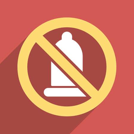 condones: Condón Prohibida icono glifo larga sombra. El estilo es un símbolo de luz plana con ángulos redondeados en un cuadrado de fondo rojo.