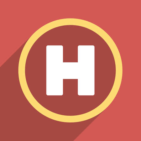 homeland: Helicopter Landing Circle long shadow glyph icon. Style is a flat light symbol with rounded angles on a red square background. Stock Photo